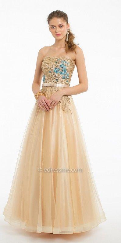 4e260c075ea9 Shine brightly in the Strapless Metallic Gold Applique Tulle Ballgown by  Camille La Vie. #edressme