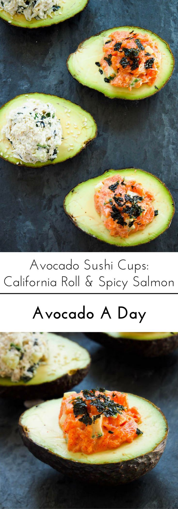 Enjoy sushi without the hassle with these avocado sushi cups! Recipes for California roll and spicy smoked salmon!