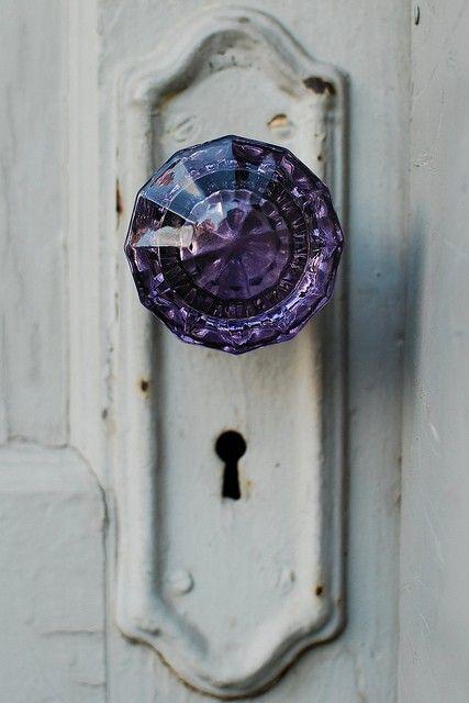 purple glass knob