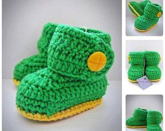 Зеленый вязание крючком пинетки детские, UGG Стиль, новорожденных вязание крючком обувь, вязаные пинетки, Детская обувь, ботинки для детей, Baby Shower gift, все размеры