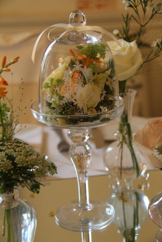 Flower design events miniature bell jar quot gold