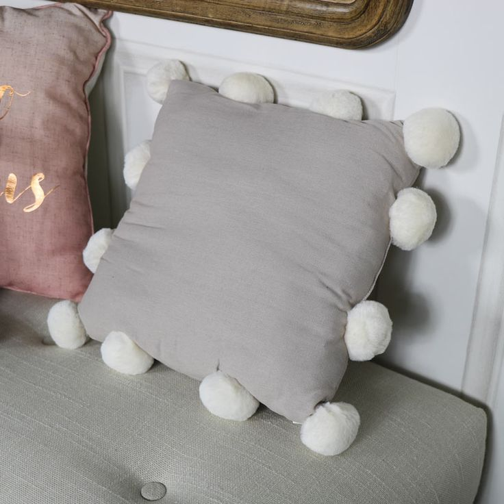 Grey Pom Pom Scatter Cushion #cushions #softfurnishings #decorideas #homedecor #interiordesign #homedecor #homedecorideas