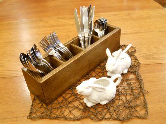 Silverware Caddy, Wood Caddy, Kitchen Wood Caddy