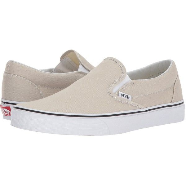 43252d688f Vans Classic Slip-Ontm (Silver Lining True White) Skate Shoes ( 50) ❤ liked  on Polyvore featuring shoes