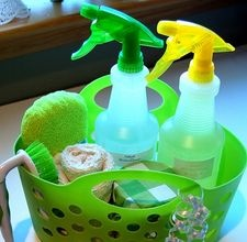 For a basic wood cleaner, simply mix 1/4 quarter cup of olive or mineral oil with 4 tbsp. of distilled vinegar. Add 2 tsp. of lemon juice to the mixture, and pour into a plastic spray bottle. (I didn't even use a spray bottle, just a rag. Worked pretty well!)