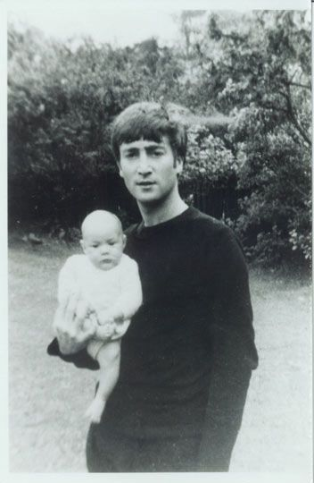 John with his baby son Julian the Cynthia Lennon Collection as featured in White Feather: The Spirit of Lennon Exhibition