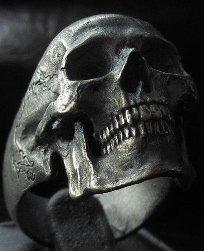 Sterling Silver Mens Ring Skull Ring Biker Rock and Roll