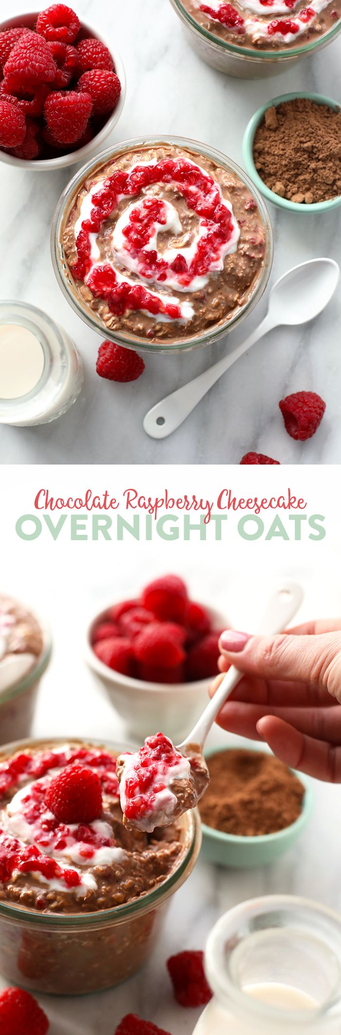 Nothing like cheesecake for breakfast. This Chocolate Raspberry Cheesecake Overnight Oatmeal recipe is prepped in less than 5 minutes so that you can have a healthy breakfast ready to go in seconds in the AM.