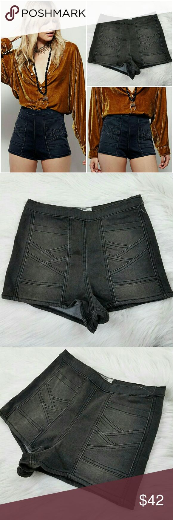 """Free People Radar Love High Rise Shorts NWOT Free People """"Radar Love"""" high waisted shorts.  Faded black / charcoal color.  Detailed front pockets for an elevated look.  Zips up on side.  Very stretchy!  Brand new without tags, plastic tag thing still attached.  Never worn.  Size 26 Free People Shorts"""