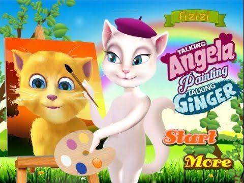 Talking Angela Painting Ginger - Talking Tom Game Tutorial 2016