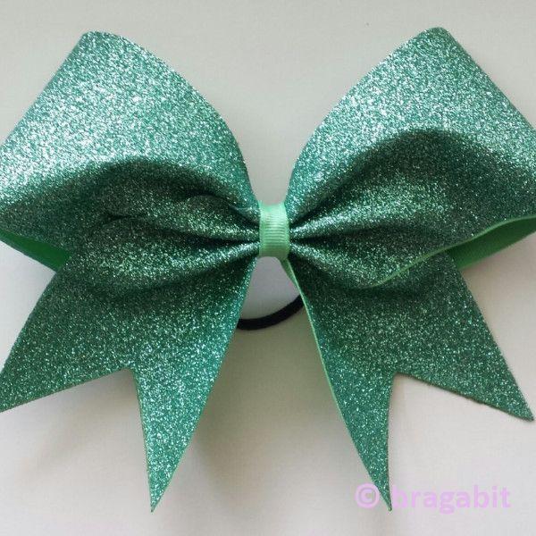 Mint glitter cheer bow.