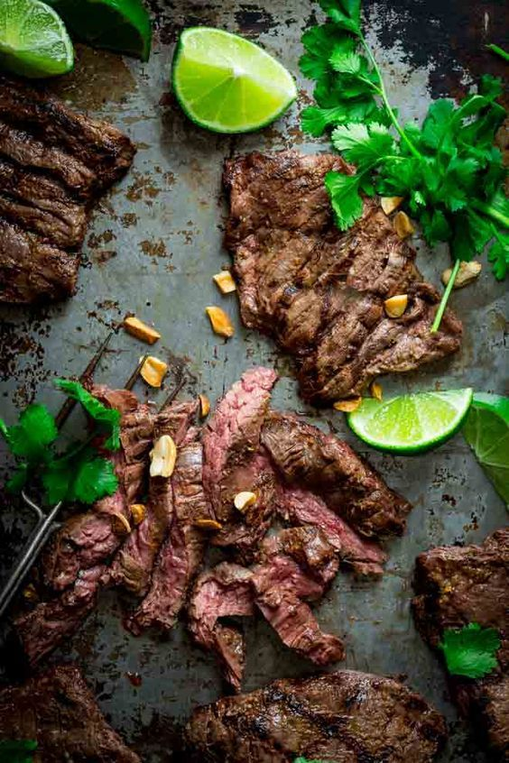 Grilled Thai Coconut Lime Skirt Steak by healthyseasonalrecipes #Beef #Thai #Coconut #Lime #Healthy