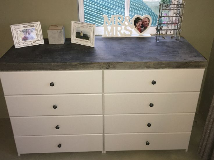 Painted wood and concrete counter top dresser