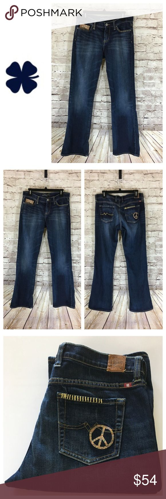 """💸😻Lucky Brand Sweet n' Low Bootcut Jean sz 8/29 💸😻Lucky Brand Sweet n' Low Bootcut Jean sz 8/29 inseam 31 1/2"""" and rise 9"""". Leg width opening is 9 1/2"""" across. Measurements are approximate. Up for sale is a beautifully detailed pair of Lucky 🍀 Brand jeans accented with Peace symbol on right pocket, gold stitching throughout and front coin pocket. Extremely unique with eye catching details! Love em! 👖❤️ Lucky Brand Jeans Boot Cut"""