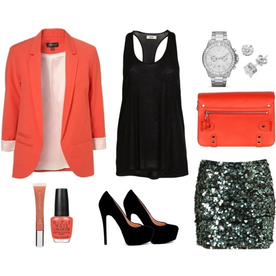 Loving coral at the moment and especially this sequin skirt!: Coral Blazers, Dreams Closet, Girls Night Outs, Sparkle Skirts, Night Outfit, Sparkly Skirts, Cute Outfit, Night Outs Outfit, Pink Blazers
