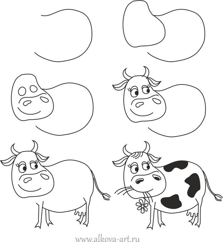 Как нарисовать корову ребенку?