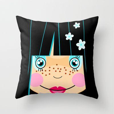 Japanese Girl Throw Pillow by Namia Design - $20.00