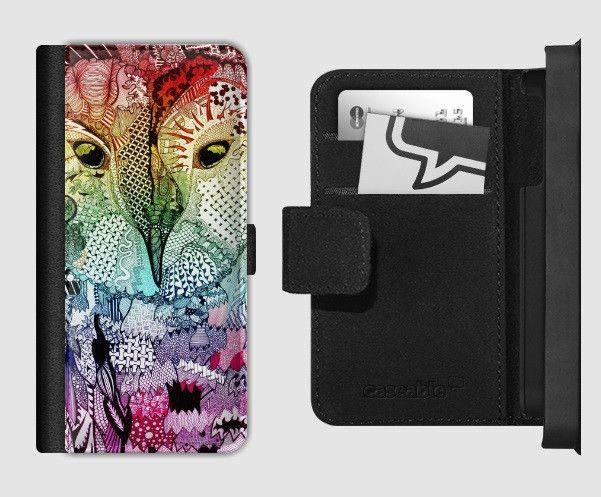 Flip Wallet Phone Case 'Rainbow Wise Owl'