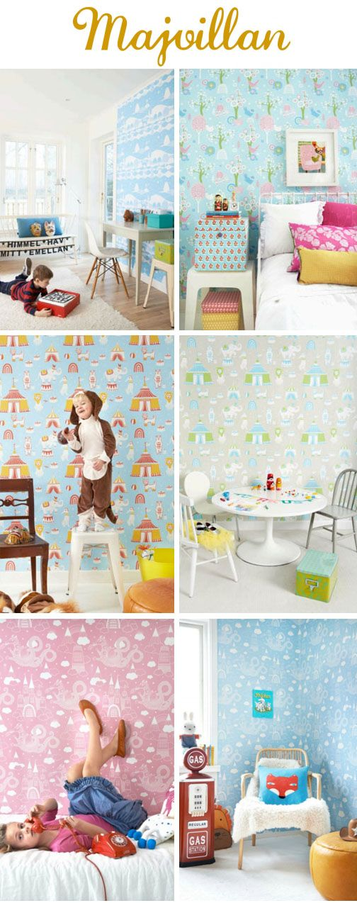 #kidsrooms #kidswallpaper Kids Wallpaper. Buy at www.justkidswallpaper.com .Swedish artist Charlotta Sandberg is a clever cookie. As well as exhibiting her 'grown up' art works and contributing designs to IKEA.