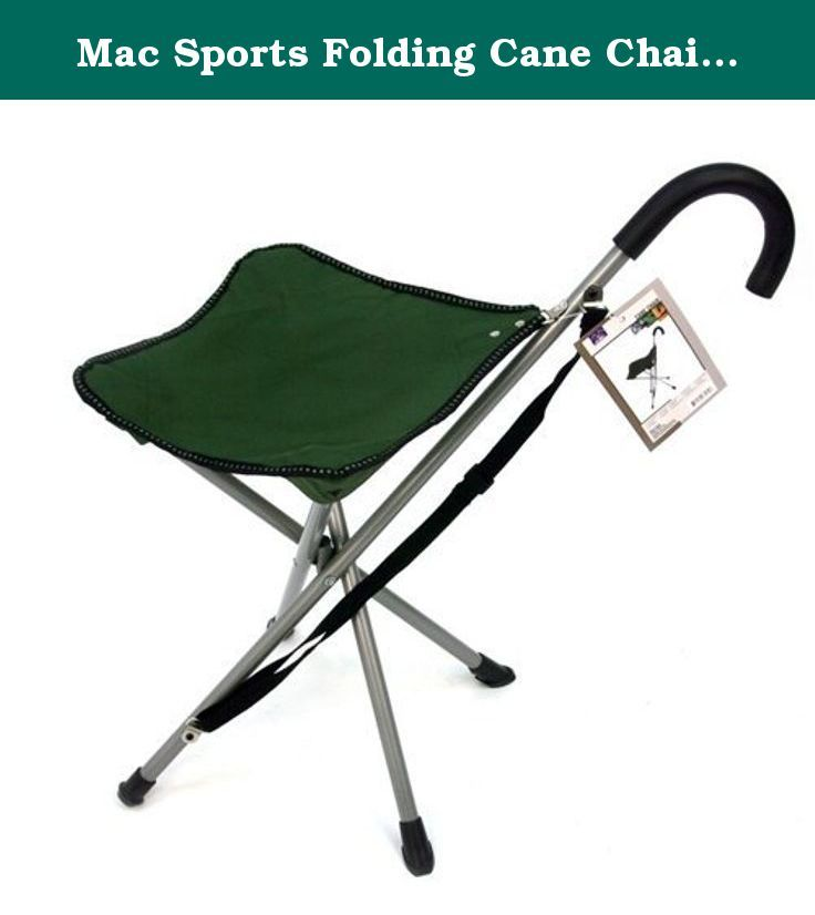 Mac Sports Folding Cane Chair - Walking Stick with Stool. Lightweight, portable stool-style chair will help you take a load off your feet while on the go! Folds flat for transport, making this perfect for sporting events, the beach, camping, concerts, fishing, and so much more.