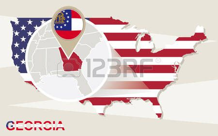 Mapa de EE.UU. con magnificada del estado de Georgia. bandera de Georgia y mapa.
