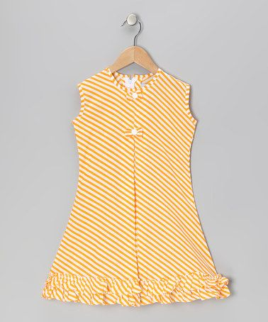 Take a look at this Yellow Stripe Bow & Ruffle Sundress - Infant, Toddler & Girls by Vintage Circus on #zulily today!