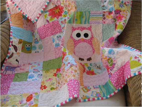 Made to order:  owl baby girl quilt, scrappy owl quilt, Pink baby girl quilt, owl nursery decor, girls crib bedding, Modern baby quilt on Etsy, $145.00