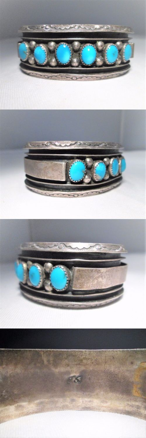 Native American pre-1935 165137: Estate Vintage Heavy Sterling Jacki Singer Navajo Turquoise Cuff Bracelet Em1016 -> BUY IT NOW ONLY: $629 on eBay!