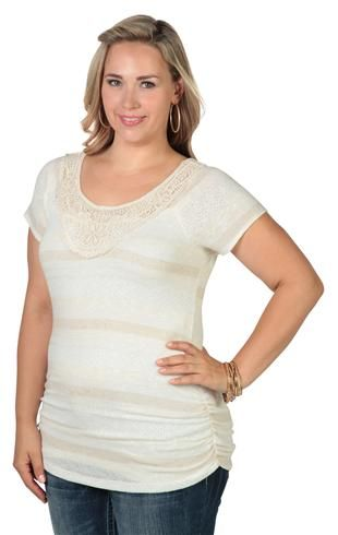 Plus Size Tunic with Ruched Sides and Crochet Patch Neckline
