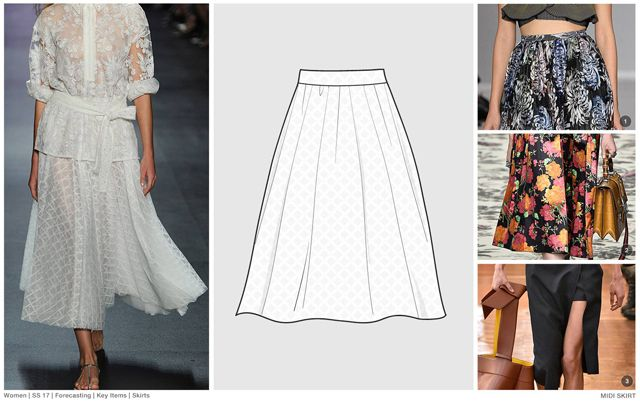 #FashionSnoops SS17 women's key styles and sketches on #WeConnectFashion: Skirts - midi lengths, image 1