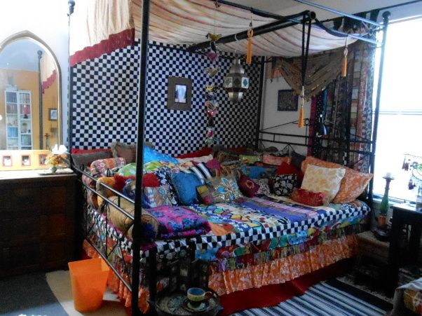 """GYPSY WAGON"" Bedroom, I love whimsy, mixing many patterns/colors & the exotic.  This room is my interpretation of a ""Gypsy wagon,"" with Moo..."