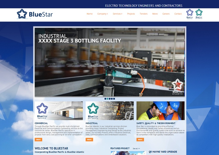 This sophisticated new website was launched in 2013 for Brisbane based company BlueStar Corporate - Electro Technology Engineers and Contractors. The website, which was designed and developed by The Creative Collective Newcastle includes functionality for tender applications, work orders and quote submissions, projects showcase plus much, much more. The companies two divisions - BlueStar Pacific and BlueStar Atlantic, each have their own respective sections within the site.