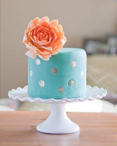 green teal mint peach gold mini birthday cake with dahlia sugar flower.