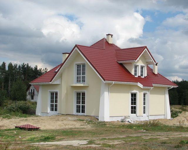 Elewacje Zuzzy: Czerwony dach białe okna