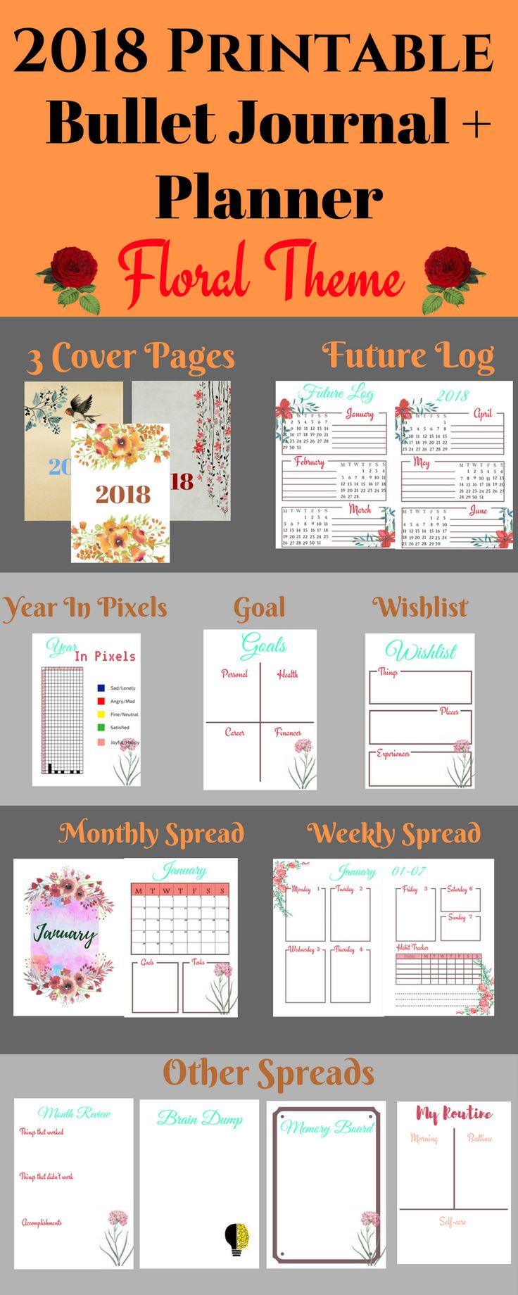 Printable Bullet Journal | Bullet Journal Prints | 2018 Planner | 2018 Bullet Journal | Future log | year in pixels | yearly spread | monthly spread | weekly spread | monthly review