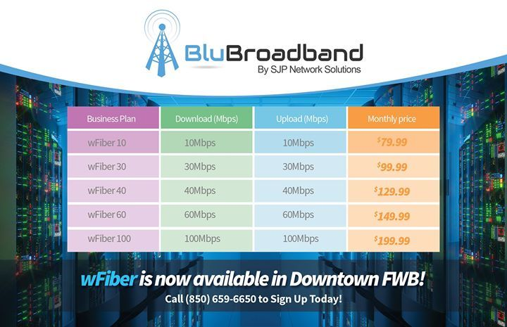 Our new Business-Class wFiber internet is now available in Downtown Ft Walton Beach. Download and upload speeds up to 100Mbps and cheaper than cable and DSL! Call (850) 659-6650 to sign up today. - http://ift.tt/1HQJd81