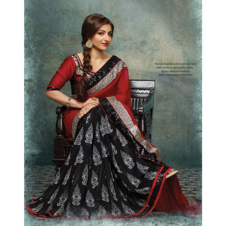 #SohaAliKhan Black and Red Georgette #Saree With #Blouse