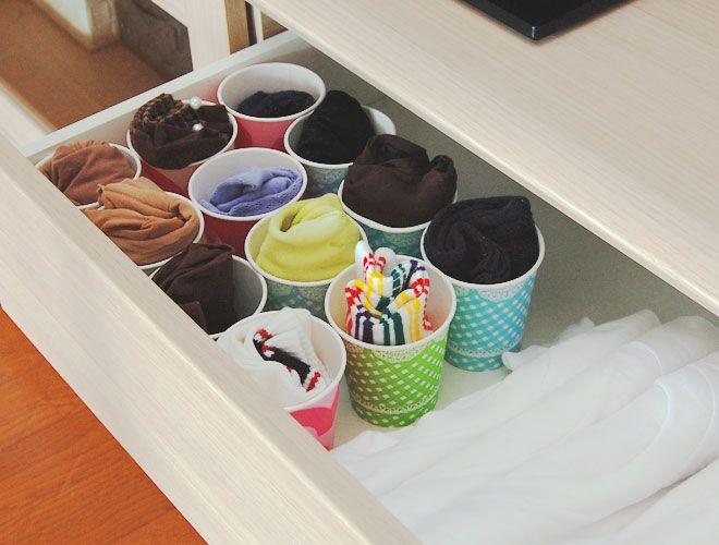 靴下、ストッキング、タイツは紙コップに入れて可愛く収納