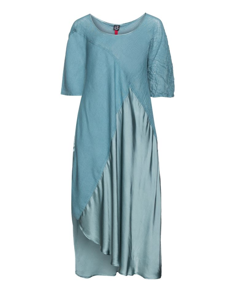 La Stampa Satin linen maxi dress in Turquoise / Blue