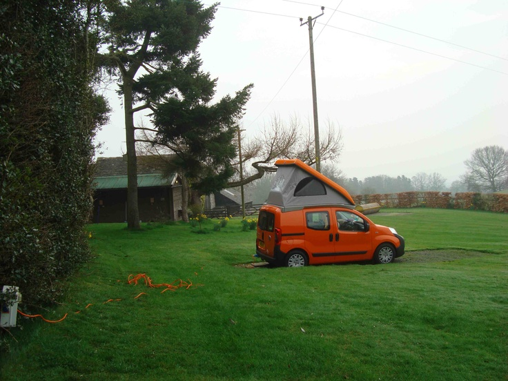 Wheelhome Vikenze micro-camper at a tiny campsite above Hay-on-Wye called Penlan