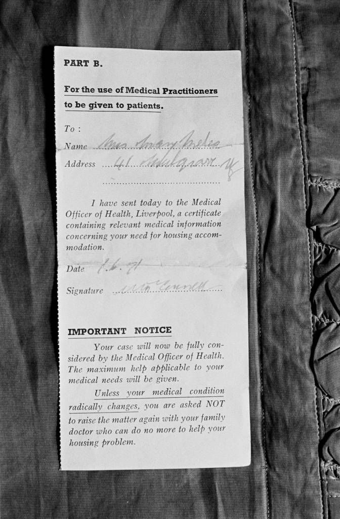 Medical certificate for rehousing, Liverpool 1971 England Swings - medical certificate
