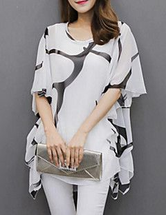 Women's Casual/Daily Plus Size Summer Blouse,Print Round Neck Short Sleeve White / Black Polyester Medium – USD $ 14.99