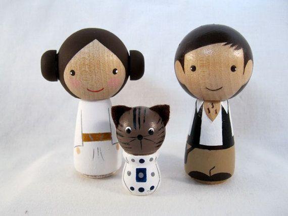 Kokeshi Princess Leia Han Solo R2 Cat Peg Doll by knottingwood. This is PERFECT!