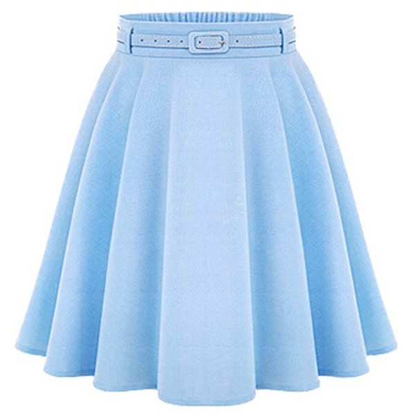 Choies Blue High Waist Silky Skater Skirt With Belt ($20) ❤ liked on Polyvore featuring skirts, bottoms, saias, blue, circle skirt, flared skirt, high waisted skater skirt, blue skater skirt and high waisted skirts