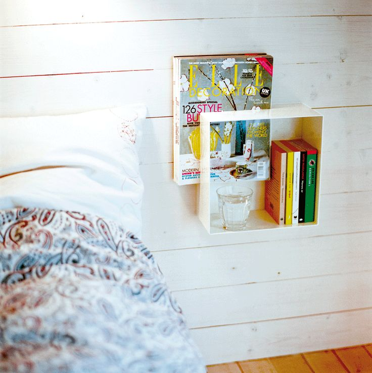 Kubo is a Swedish-made shelf that is perfect for the kitchen, hall to the bedroom. It is a great shelf to hang beside the bed. Given the creative solution with the magazine Kubo becomes as a stylish picture and a additional detail for the room.  Material: Powder coated metal
