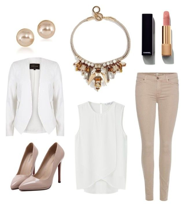 """Statement necklace"" by borbalastyle on Polyvore featuring 7 For All Mankind, MANGO, Nali, River Island, Carolee, Chanel and WithChic"