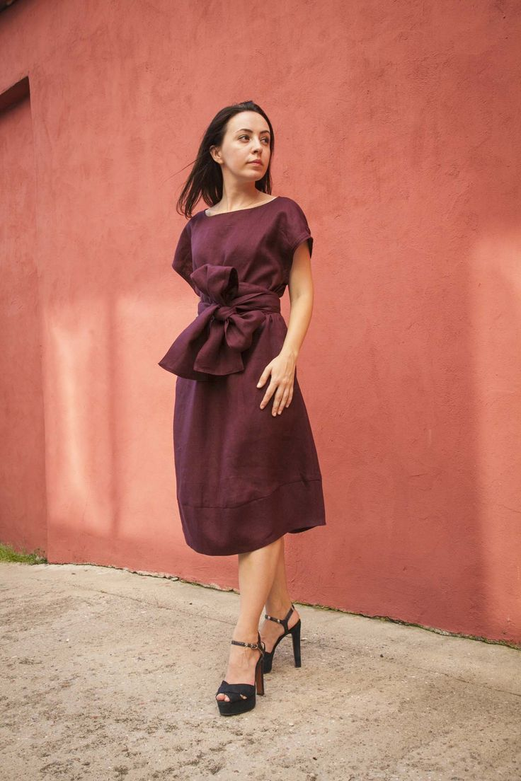 """Платье """"Японское"""" с поясом ОБИ, бордо,100% лён в магазине «Глубина материи» на Ламбада-маркете"""