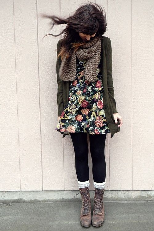Basically All I Wear Winter Cute Outfit For Fall Leggings Knee High Socks Lace Up Boots Floral Dress Olive Green Cardigan And Scarf