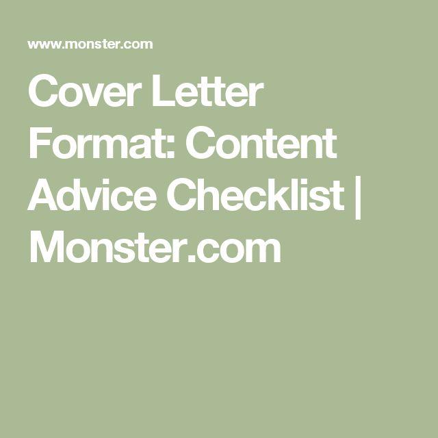 Cover Letter Format: Content Advice Checklist | Monster.com