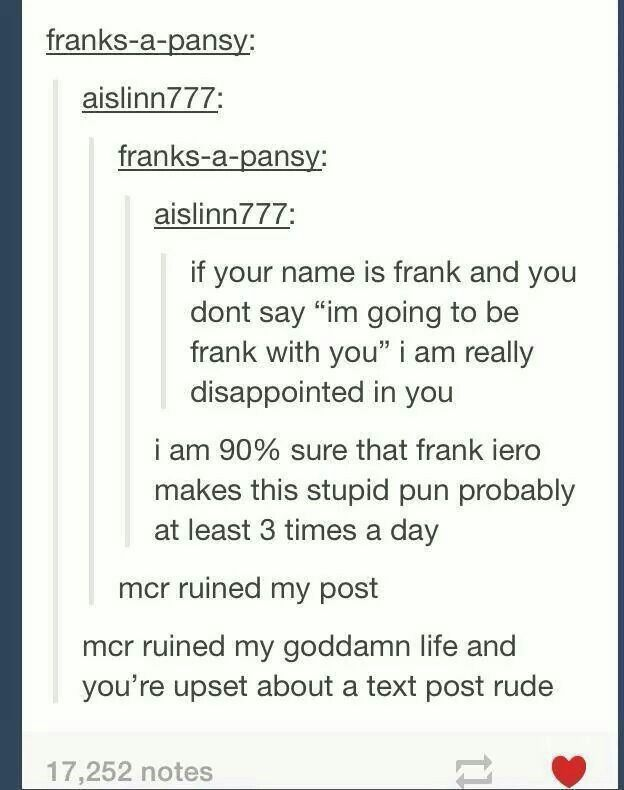 MCR ruined my goddamn life and you're upset about a text post rude